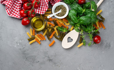 Raw Pasta with ingredients
