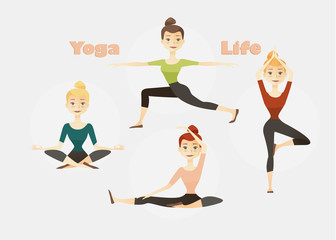 Set of four yoga poses for women. Vector illustration.