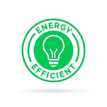 Energy efficient green eco icon lightbulb symbol design
