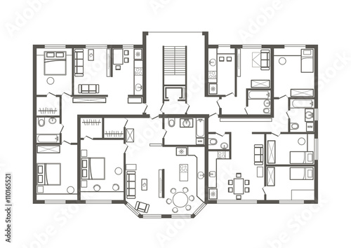 Linear architectural sketch plan of apartment section - Plan appartement 120 m2 ...