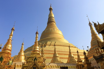 Shwedagon Paya pagoda Myanmer famous sacred place and tourist attraction landmark,Yangon, Myanmar