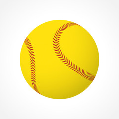 Realistic softball ball vector icon isolated on white background