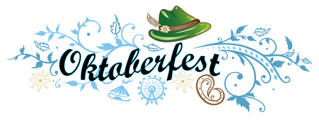 Oktoberfest Banner mit Hut, Brezel und Edelweiß