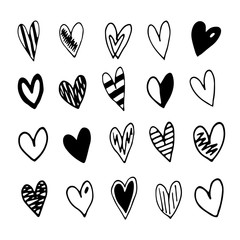 Hand drawn doodle hearts set. Vector illustration on white background