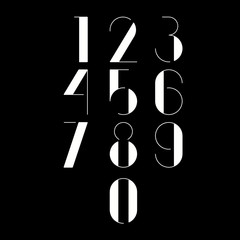 Thin minimalistic font. White numbers on black background. Vector illustration.