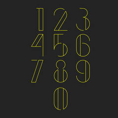 Thin minimalistic font. Yellow numbers on dark grey background. Vector illustration.