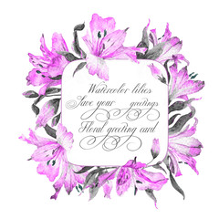 Frame with pink watercolor lilies.