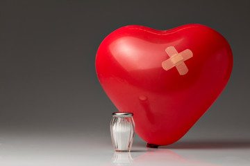 Hypertonie, rotes Ballon Herz