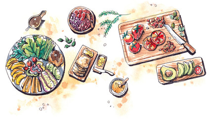 healthy food vegetble fruits and salad flat lay watercolor illus