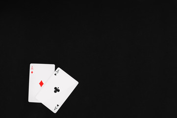 Pockets Aces with black of felt background for textcopy