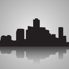 Seoul City skyline black and white silhouette. Vector illustration.