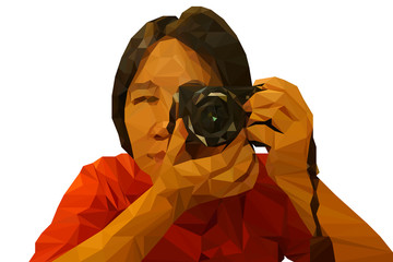 Low poly illustration of photographer holding a black camera, in vector isolated on white background.