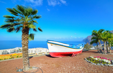 Transportation boat on the sore, in Tenerife, Spain