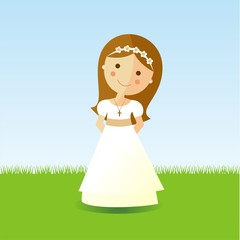 First Communion girl with brown hair in a garden
