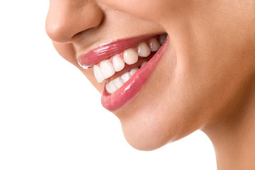 Laughing woman mouth with great teeth