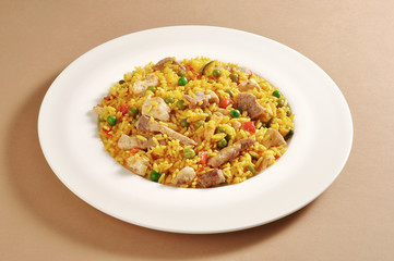 Dish of meat paella