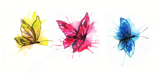 Abstract butterflies. watercolor illustration