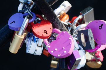 Colored love padlocks collection. Metal textures, pattern and vintage design.  romance conceptual image.