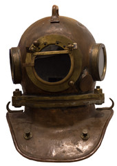 Old scuba gear isolated