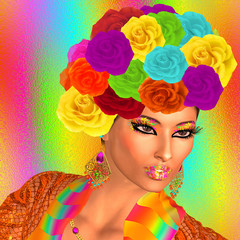Wearing a head-dress decorated by a plethora of roses in exquisite colors of  aqua,yellow,orange,green,red and pink make an eye catching face.