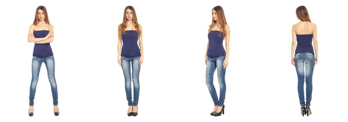 Full length portrait of beautiful teen in jeans