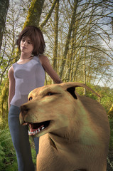 3d rendered illustration of a young girl with a giant dog along a woodland trail