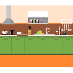 A kitchen plane with green furniture and brown bricks wall, with bottles, set of knives, wine, glasses, washstand and other accessories, digital vector image