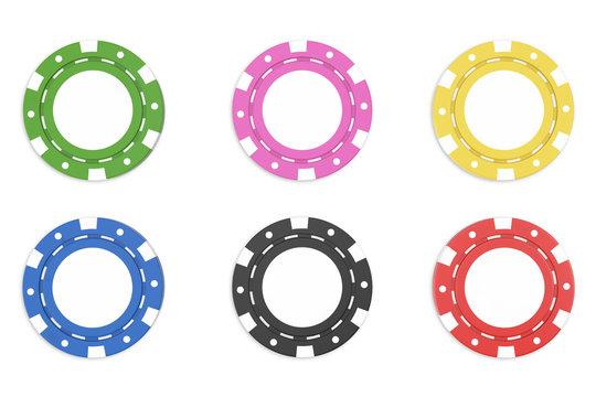 Casino chips isolated on white bacgkround. 3d illustration