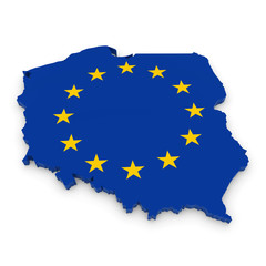 3D Illustration Map Outline of Poland with the European Union Flag