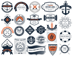 Vintage Insignias and logotypes set. Vector design elements, log
