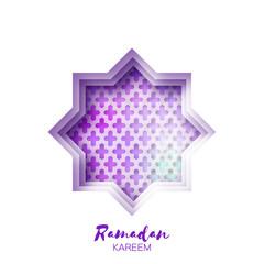 Purple Origami Star Mosque Window Ramadan Kareem Greeting card with arabic arabesque pattern. Holy month of muslim. Symbol of Islam. Applique Vector illustration.