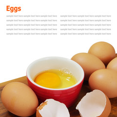 organic brown eggs isolated on white background