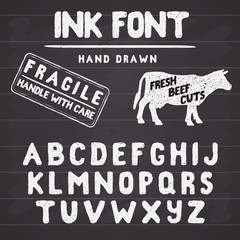 Hand Made Ink stamp font. Handwritten alphabet. Vintage retro textured hand drawn typeface with grunge effect, good for custom logo or emblrm. Vector illustration. on chalkboard background