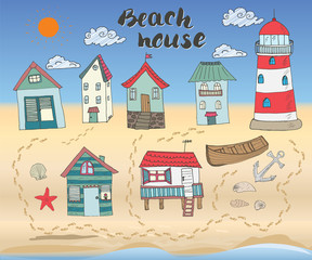 Beach huts and bungalows, hand drawn outline color doodle set with light house wooden boat and anchor, seashells and footsteps on sandy beach, vector illustation