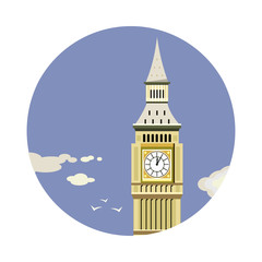 Big Ben tower closeup with clouds icon