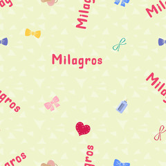Seamless background pattern name Milagros of the newborn