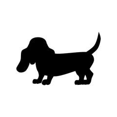 Flat basset hound pet illustration.
