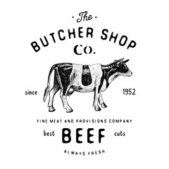 Butcher Shop vintage emblem beef meat products, butchery Logo template retro style. Vintage Design for Logotype, Label, Badge and brand design. vector illustration isolated on white