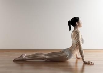 Female stretching, artwork