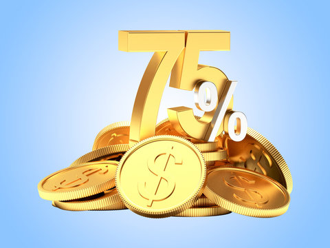 75 percent discount on a pile of golden coins on blue background.