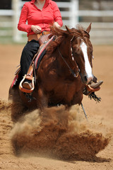 The front view of a rider in cowboy chaps and boots on a horseback running ahead in the dust.