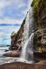 Waterfall At Melasti Beach Tanah Lot Bali, Indonesia