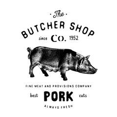 Butcher Shop vintage emblem pork meat products, butchery Logo template retro style. Vintage Design for Logotype, Label, Badge and brand design. vector illustration isolated on white