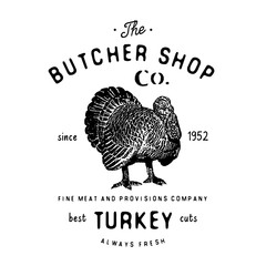 Butcher Shop vintage emblem turkey meat products, butchery Logo template retro style. Vintage Design for Logotype, Label, Badge and brand design. vector illustration isolated on white