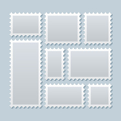 Blank postage stamps in different size. Vector template
