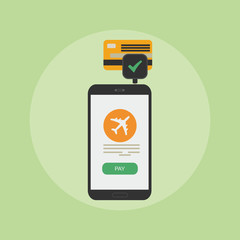 mobile phone, credit card vector illustration, concept of mobile payment app, smartphone communication, payments application system, money transfer, modern design