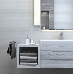 Modern interior design of bathroom (3d Render)