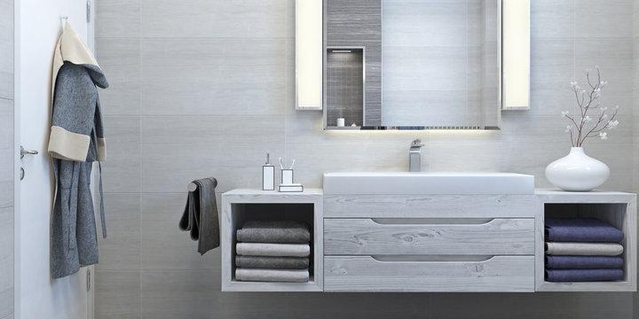 Modern interior design of bathroom (3d Render)