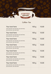 menu price list for coffee beans and coffee drops