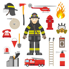 Fireman Professional Equipment Flat Icons Collection